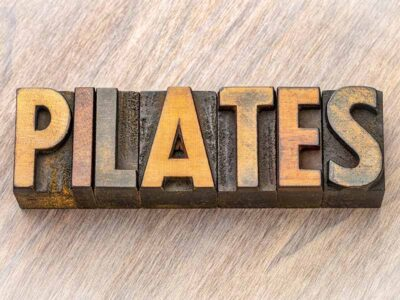 Wooden plaque saying Pilates